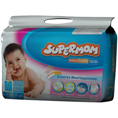 Supermom Baby Diaper- Medium, 6-11 kg 4 Pads
